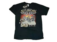 Sturgis Motorcycle Rally 2012 T Shirt Size Medium M Black, New with Tags NOS