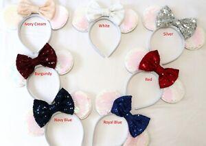 White Minnie Ears, White Mickey Mouse Ears, White Disney Ears HANDMADE