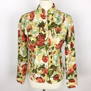 BAMBOO TRADERS Floral Cotton Eyelet Lined Short Blazer/Jacket - Size Small