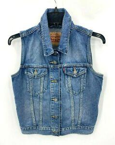 Levi's Womens Small Denim Vest Medium Wash Button Up