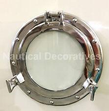 """11"""" Aluminum Porthole Window Nickel Finish ~Cabin Ship Porthole ~Nautical Deco"""