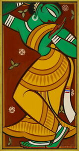 Framed Jamini Roy Painting of Dancing Gopi Giclee Canvas Print Paintings Poster