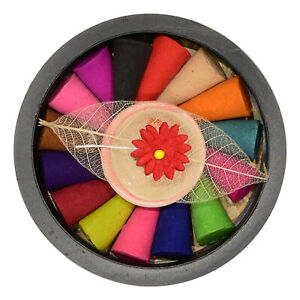 ⭐ Mixed Fragrance Incense Dhoop Cones Set with Holder Colourful 15pc Fair Trade