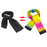 Color Changing Scarf Black Change Into Rainbow Silk Streamer Magic Stage Trick G
