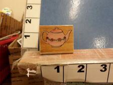 tea pot rose coffee rubber stamp 36d