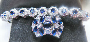 blue sapphire ring and bracelet jewelry set, 925 sterling silver sz 8 {40% OFF}