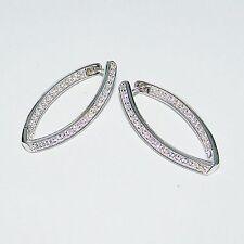 Ohrringe Silber 925er ovale Creolen Zirkonia Ohrstecker ECHT Silberohrringe