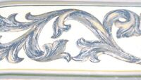 Architectural Blue Leaf Scroll on White WALLPAPER BORDER4088  Traditional NIP