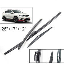 "Set of 3 Front Rear Windshield Wiper Blades For Nissan X-Trail 13-19 26""17""12"""