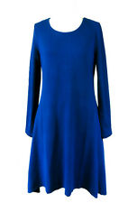 Blue Knit Long Sleeved Dress Women's Winter Casual Ladies Wear Size 16-18