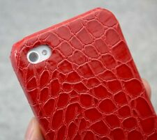 New Red Alligator Skin Design leather hard case cover for iphone 4 4S