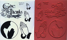 unmounted Religious rubber stamps Give Thanks/Hands Praying   5 images