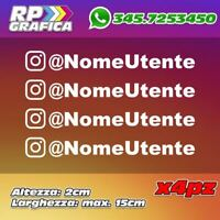 KIT 4 ADESIVI INSTAGRAM sticker USERNAME nome AUTO MOTO