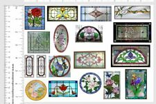 Dollhouse Miniature Shabby Chic Stained Glass Windows On Clear Sticker Sheet #3