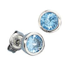 Ohrstecker 925 Sterling Silber Rhodiniert 2 Zirkonia blau Ohrringe