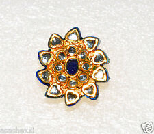 Taara Blue Crystal & Sparkle White Enameled Adjustable Flower Ring, Gold Plated