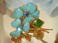 X nice X Lovely Vintage 50's Blue Enamel Flower Rhinestone Flower Brooch 541m7