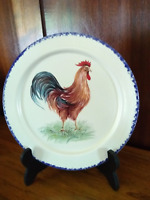 Ceramic Dessert Plate with Cobalt Blue Painted Trim and Colorful Rooster