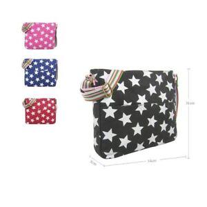 Womens Canvas Cross Body Bag Stars Pattern Large Girls Everyday School Handbag