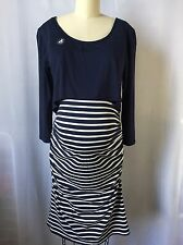 Envie de Fraise France Maternity Solid Stripes Dress US 12/14 FR 44/48 EUR 42/44