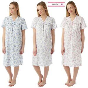 Ladies Plus Size Poly Cotton Short Sleeve Summer Nightdress Sleepwear Nightie V