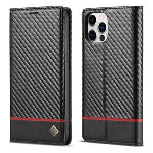 Carbon Fibre Wallet Case Leather Flip Cover for iPhone 12 11 Pro Max XR XS SE 8