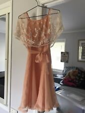 pre loved womens clothing Vintage Dress Size 8 Peach Colour With Lace