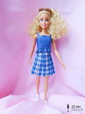 Handmade Barbie clothes: Pleated Skater Skirt and top