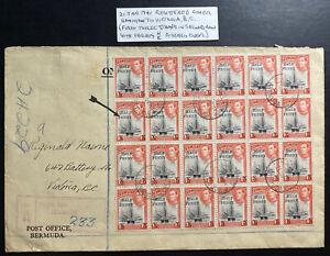 1941 Hamilton Bermuda Registered Cover To Victoria Canada Half Penny Overprint