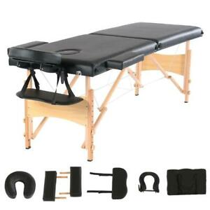 Beech Wood Folding 2-Pad Massage Table Facial SPA Bed Chair Tattoo Carry Case