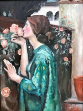 Beautiful 20th Century OOC Portrait Of A Woman Smelling Roses, Matthew McGinley