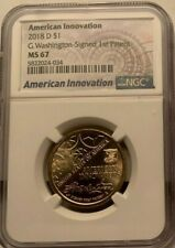 2018 D $1 NGC MS 67 America Innovation G Washington Signed 1st Patent