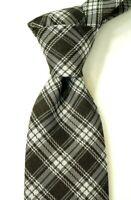 $250 NWT TOM FORD Woven Black & White Plaid Silk-Wool Neck Tie Italy