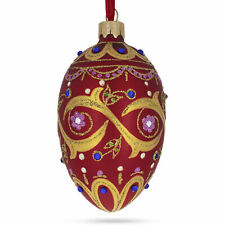 Blue Jewels On Red Glass Egg Ornament