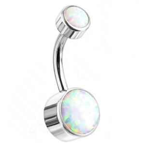 14G G23 TITANIUM DOUBLE JEWELED SYNTHETIC-OPAL BELLY BUTTON RING NAVEL PIERCING