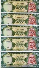 LOT Ecuador, 5 x 1000 Sucres, 6-8-1988, P-125 (125b), Obsolete Currency, UNC