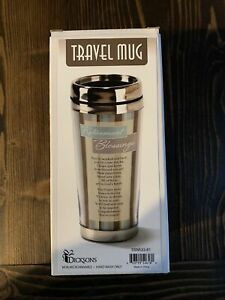 16 oz. Stainless Steel Insulated Travel Mug Retirement Blessings Brown Striped