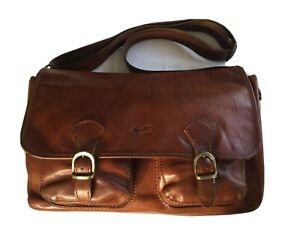 VINTAGE AD FIRENZE TOP QUALITY TAN LEATHER SATCHEL - MESSENGER BAG MADE IN ITALY