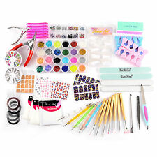 Complete Set of Nail Art Manicure Kit Polish Bar Sequins Rhinestone Tips Sticker