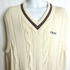 Vintage IZOD Golf Men's Sleeveless Sweater Vest Cable Knit L Beige Preppy V Neck