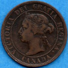 Canada 1897 1 Cent One Large Cent Coin - Fine