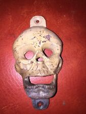 Cast Iron Skull Bottle Opener Solid Metal Patina Paint Finish /g Beer Brewery