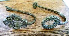 "2 Vintage  5.5"" Solid Brass Curtain Tiebacks Hooks Brackets MISMATCHED"