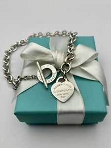 """Tiffany & Co NEW VERSION Silver Heart Tag Toggle Link Necklace 16"""" RRP $1200"""