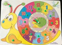 WOODEN NUMBER CLOCK PUZZLE JIGSAW EARLY LEARNING BABY KIDS EDUCATIONAL TOY 14 PC