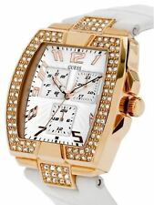 NEW GUESS ROSE GOLD PRISM WHITE LEATHER STRAP LADY MEN UNISEX WATCH U13520L1 NWT