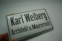 Karl Weiberg Arquitecto - Cartel Esmaltado Escalera - Di.Alrededor De 1930