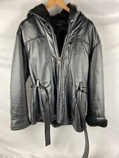 WILSONS Womens Black Leather Belted Hooded Faux Fur Lined Winter Coat Parka (XL)