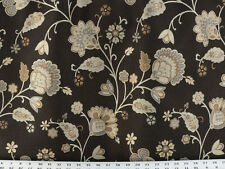 Drapery Upholstery Fabric Damask Reversible Jacobean Floral Bronze and Black