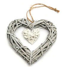 Hot Resin Wicker Heart Shaped Hanging Ornament Wreath Rattan Party Wedding Decor